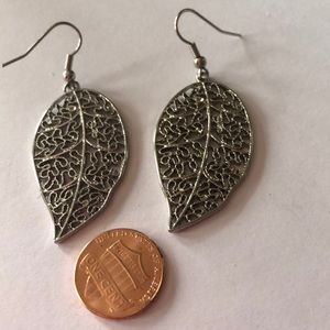 Jewelry - Leaf earrings 2.5 inches long.Shiny.